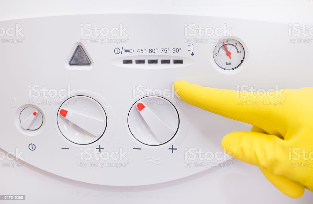 Gas boiler control panel stock photo
