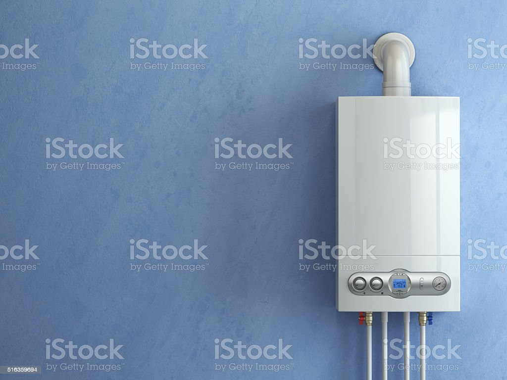 Gas boiler on blue background. Home heating. stock photo