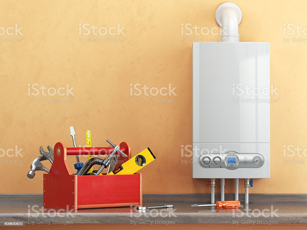 Gas boiler servicing or repearing concept. Toolbox with tools stock photo