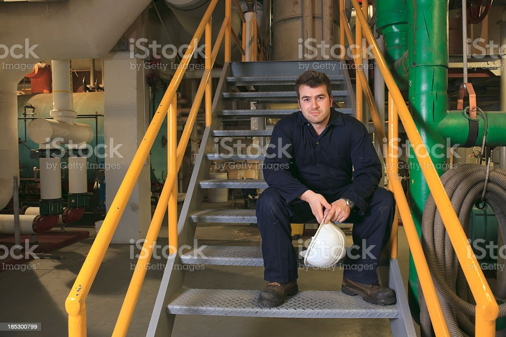 Gas boiler-house - Worker Sit royalty-free stock photo