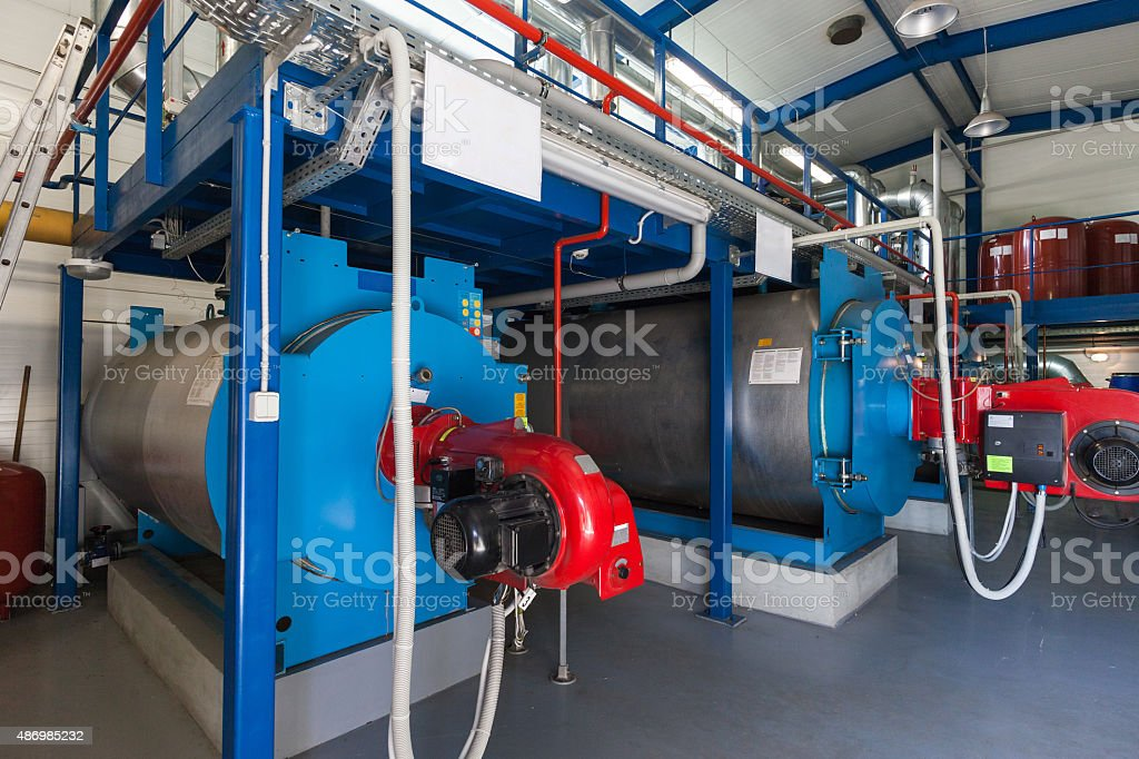 Gas boilers stock photo