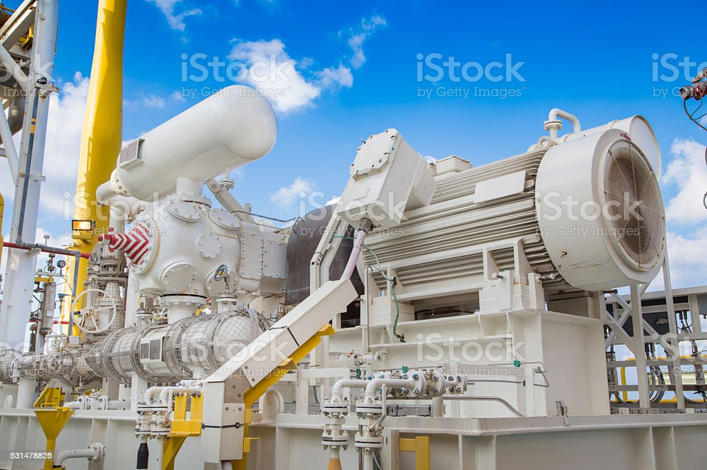 Gas booster compressor at offshore oil and gas platform stock photo