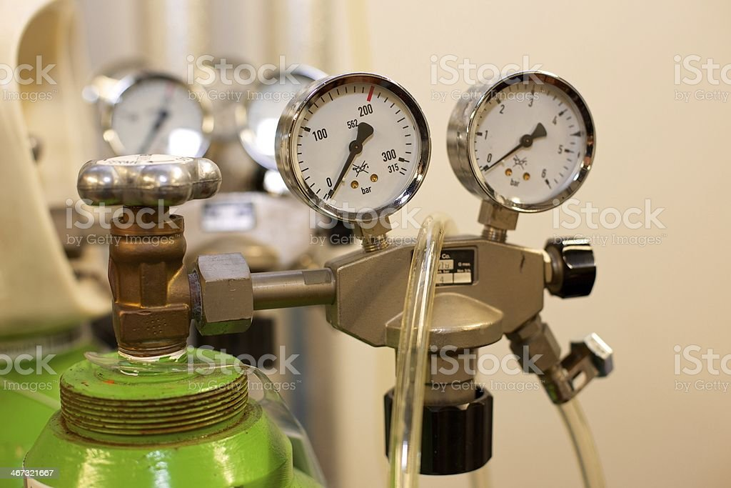 Gas Bottle with Pressure Indicator stock photo
