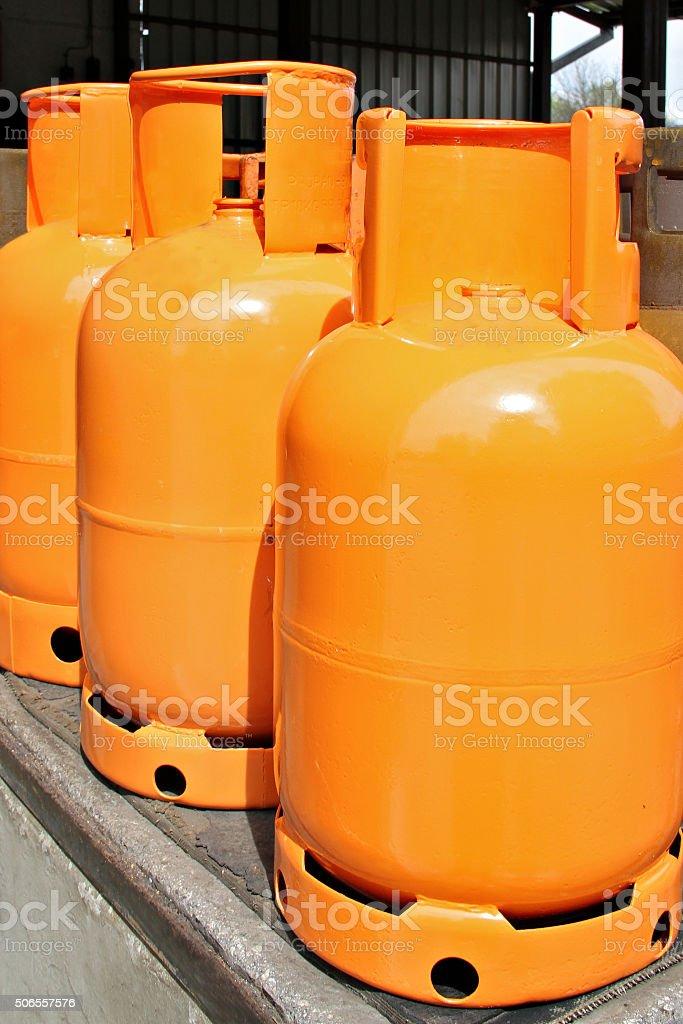 LPG Gas Bottles. LPG plant stock photo