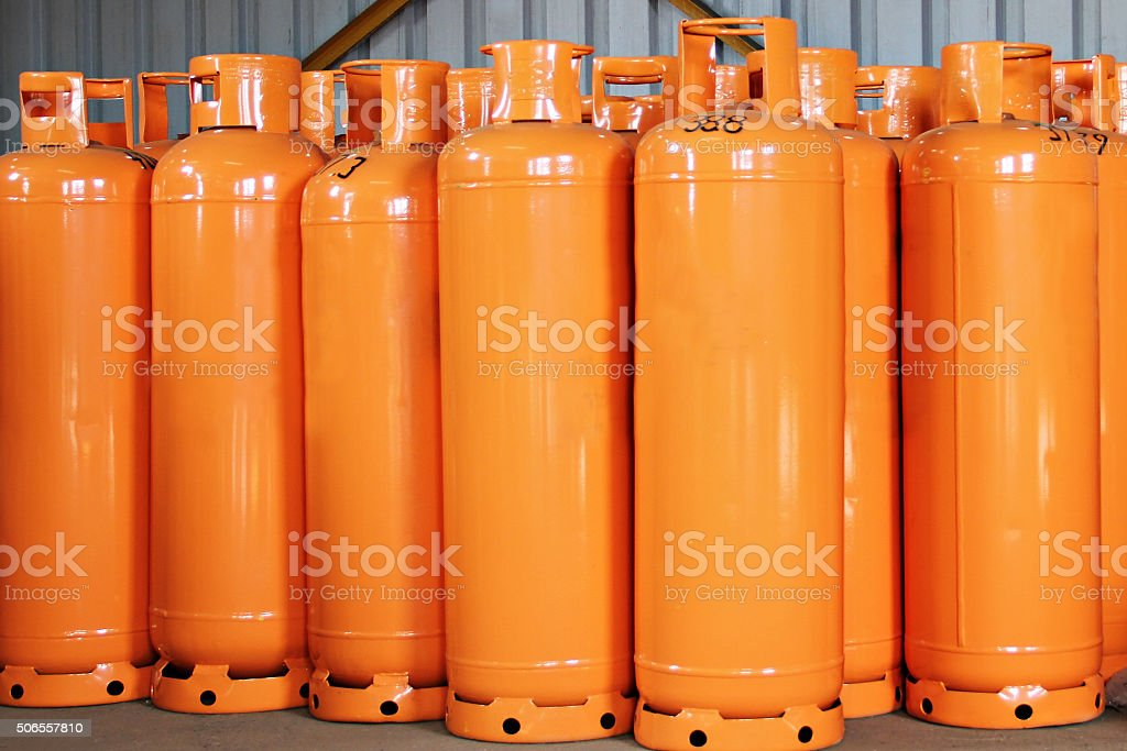LPG Gas Bottles. LPG plant stock photo