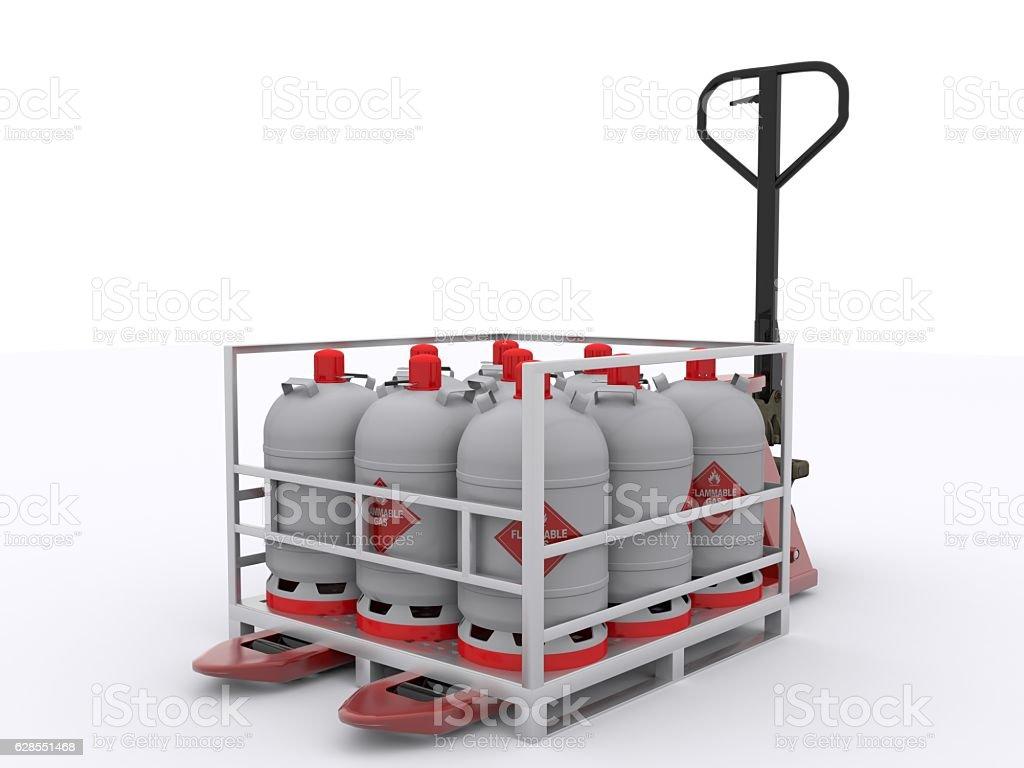 Gas bottles on pallet stock photo