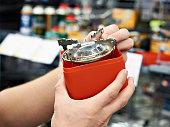 Gas burner for hike in hands