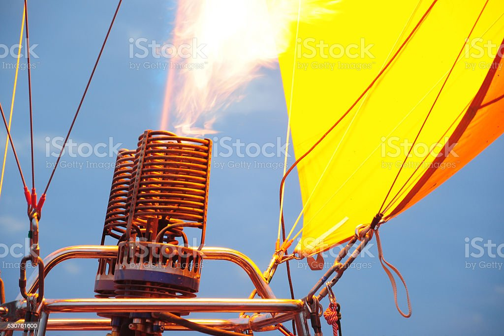 Gas burner inflating for hot air balloon stock photo