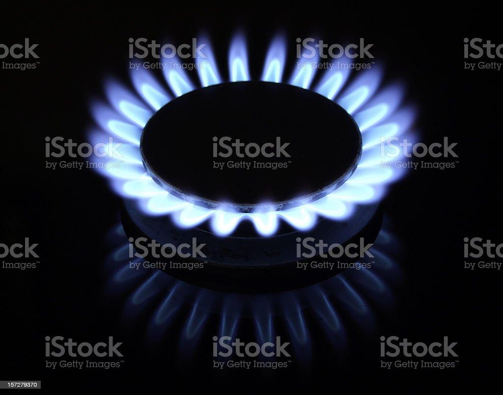 Gas burner on stove royalty-free stock photo