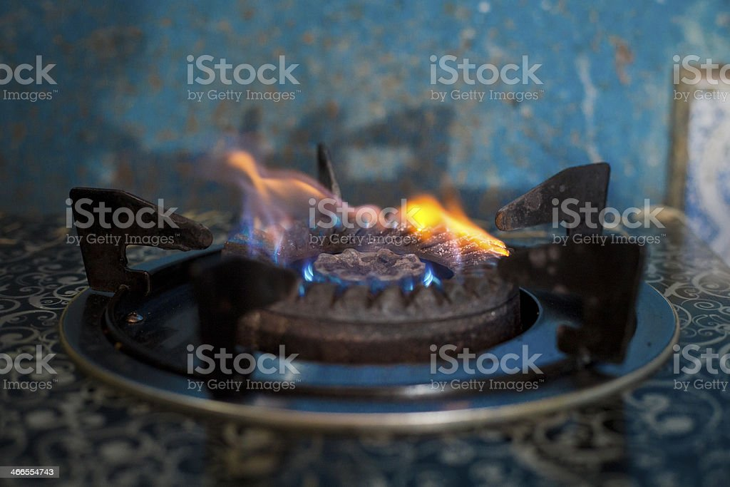 Gas Burner With Blue Flame royalty-free stock photo