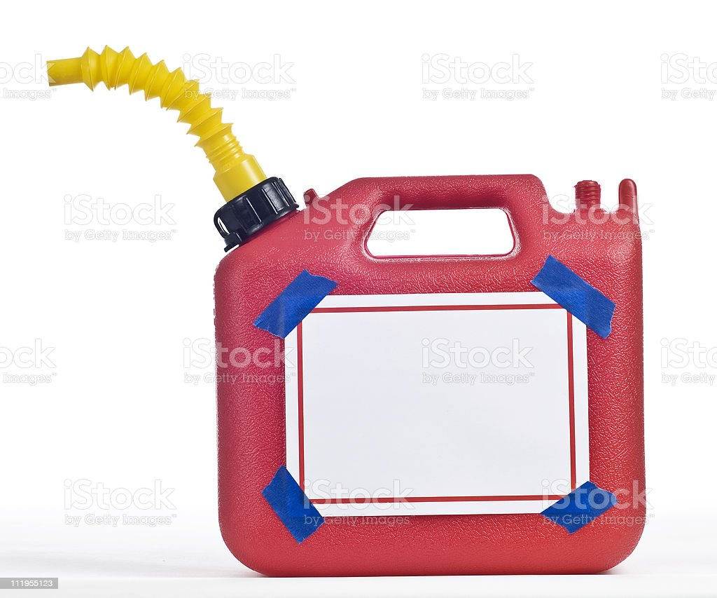 Gas Can With Blank Sign and Blue Tape royalty-free stock photo