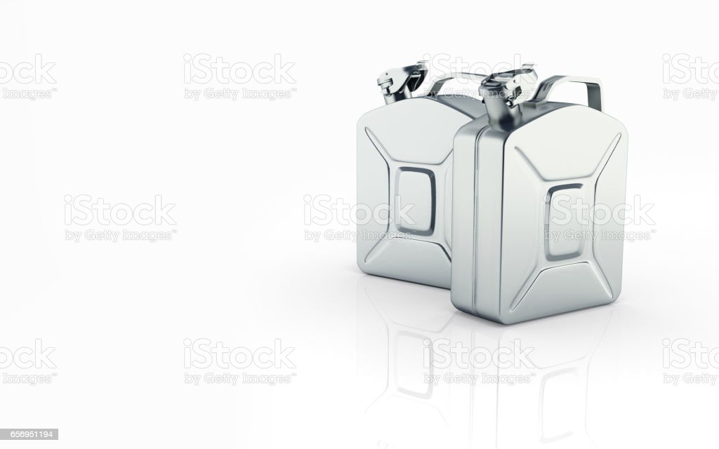Gas canisters on white background with reflection and place for text 3d stock photo
