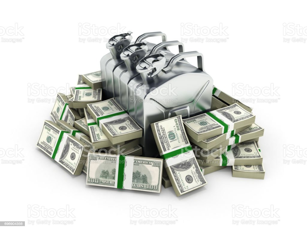 Gas canisters surrounded by 100 dollar bankrolls Concept of gasoline prices Gas canister in pile of money american dollar bills isolated on white background 3d stock photo