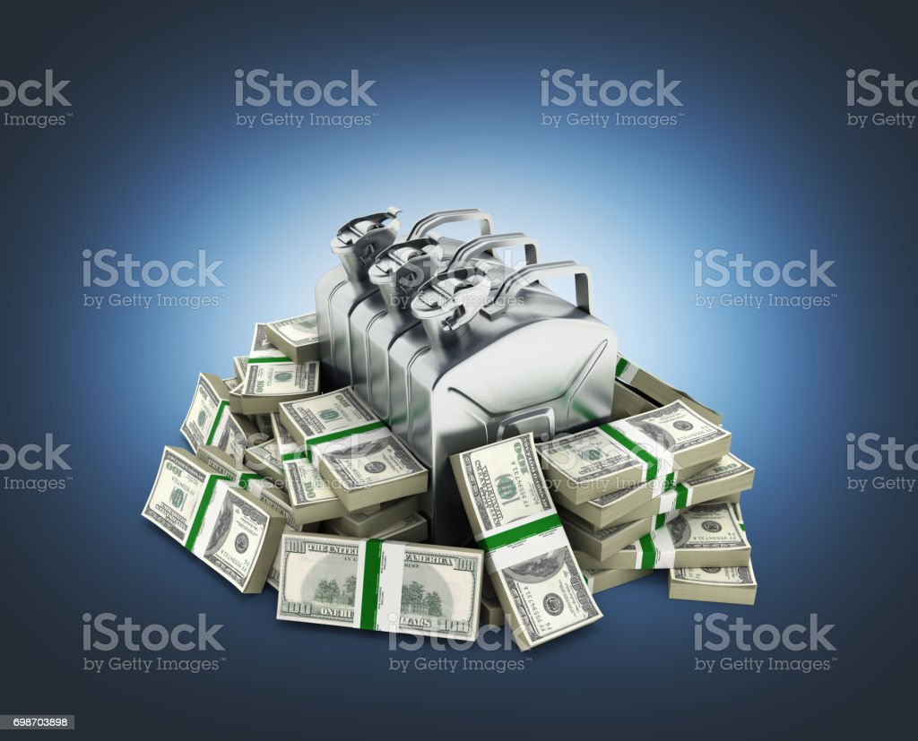 Gas canisters surrounded by 100 dollar bankrolls Concept of gasoline prices Gas canister in pile of money american dollar bills isolated on blue gradient background 3d stock photo