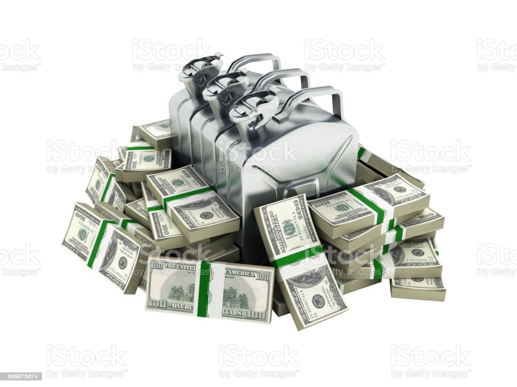 Gas canisters surrounded by 100 dollar bankrolls Concept of gasoline prices Gas canister in pile of money american dollar bills isolated on white background 3d without shadow stock photo