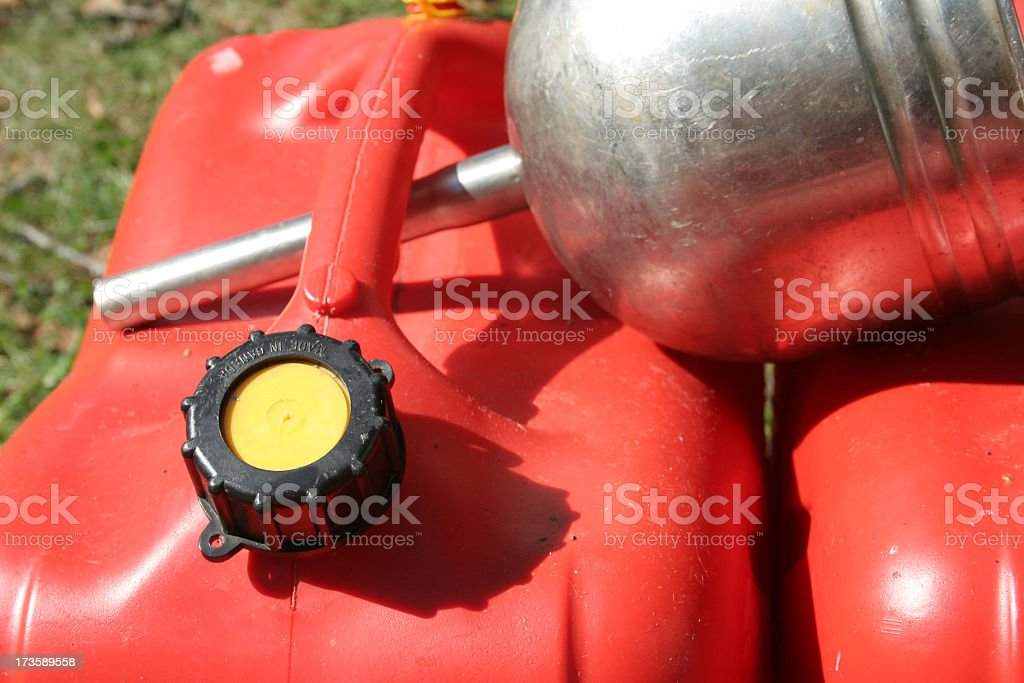 Gas Cans and Funnel stock photo