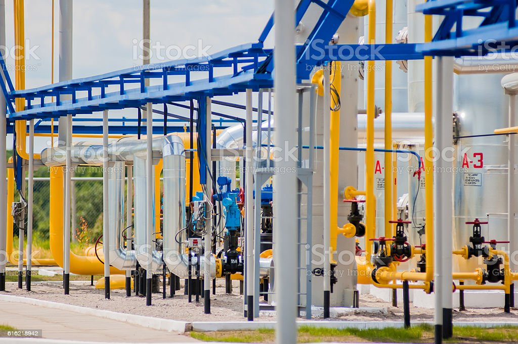 Gas compressor station in Ukraine stock photo