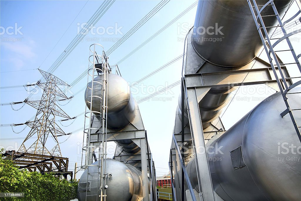 gas container and power tower stock photo