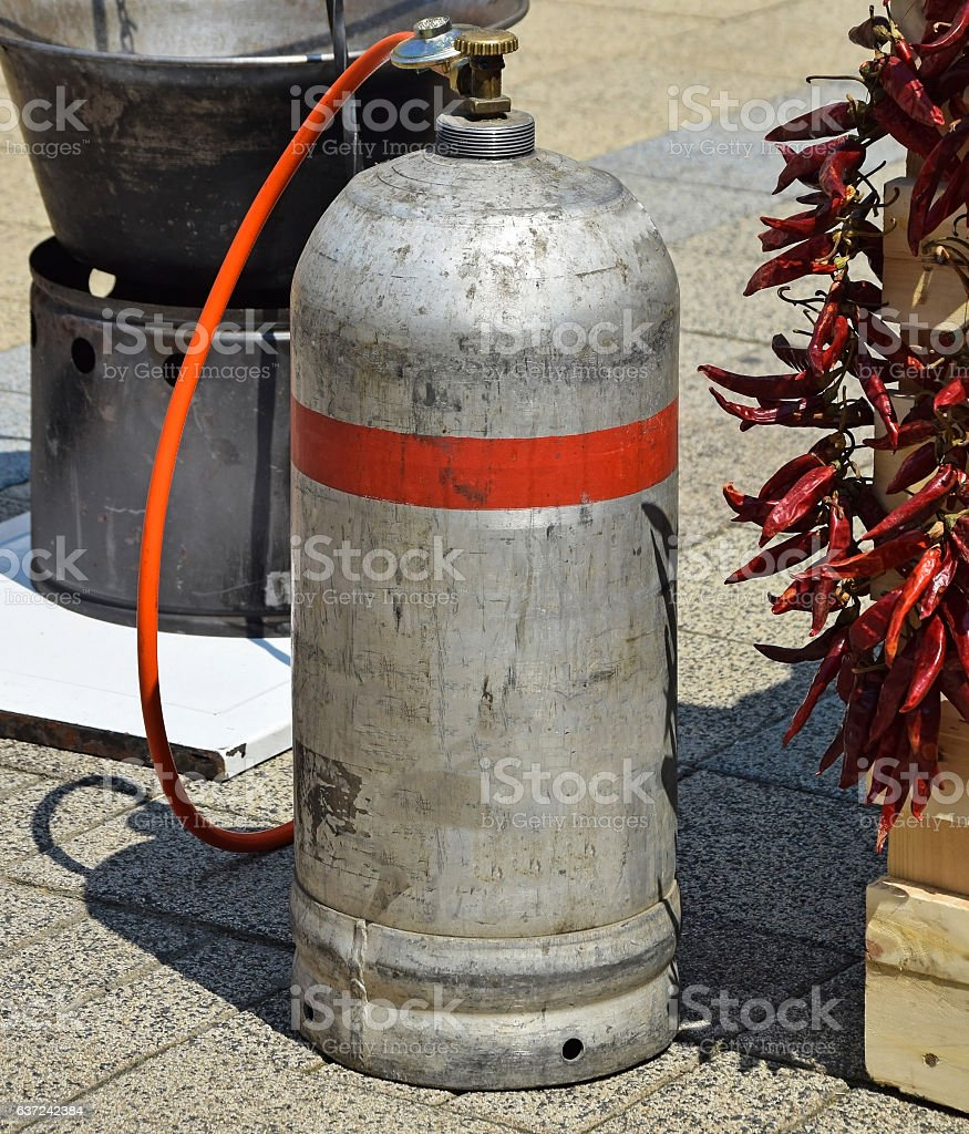 Gas container for cooking outdoor stock photo