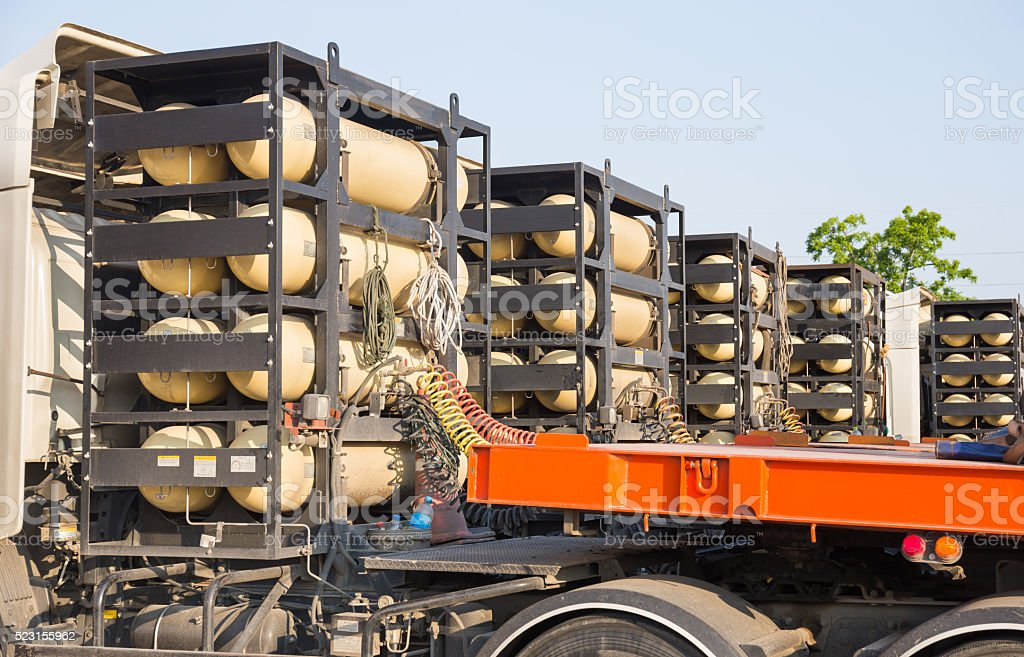 CNG/NGV gas containers fuel for heavy truck on heavy truck stock photo