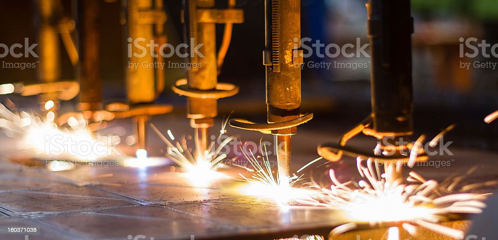 CNC LPG gas cutting close-up stock photo