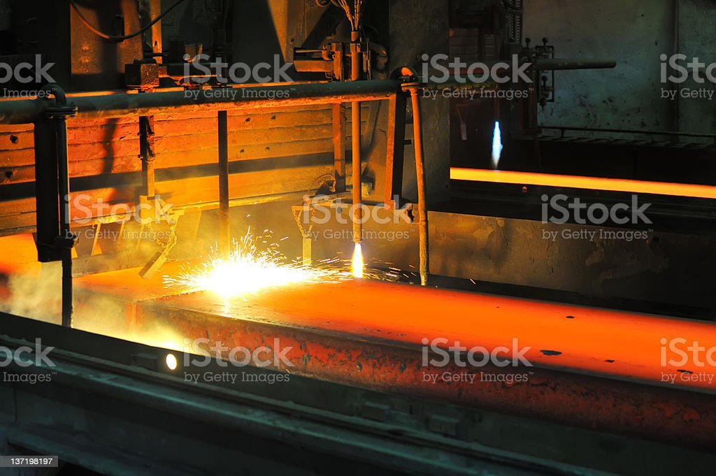 Gas cutting of the hot metal royalty-free stock photo
