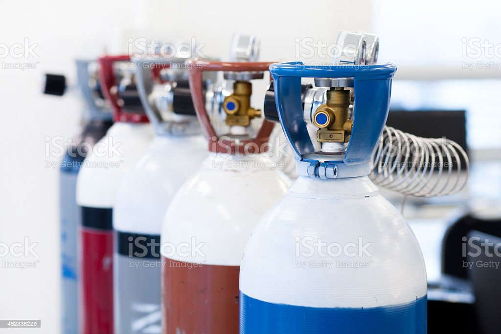 Gas Cylinder and pressure gauge stock photo