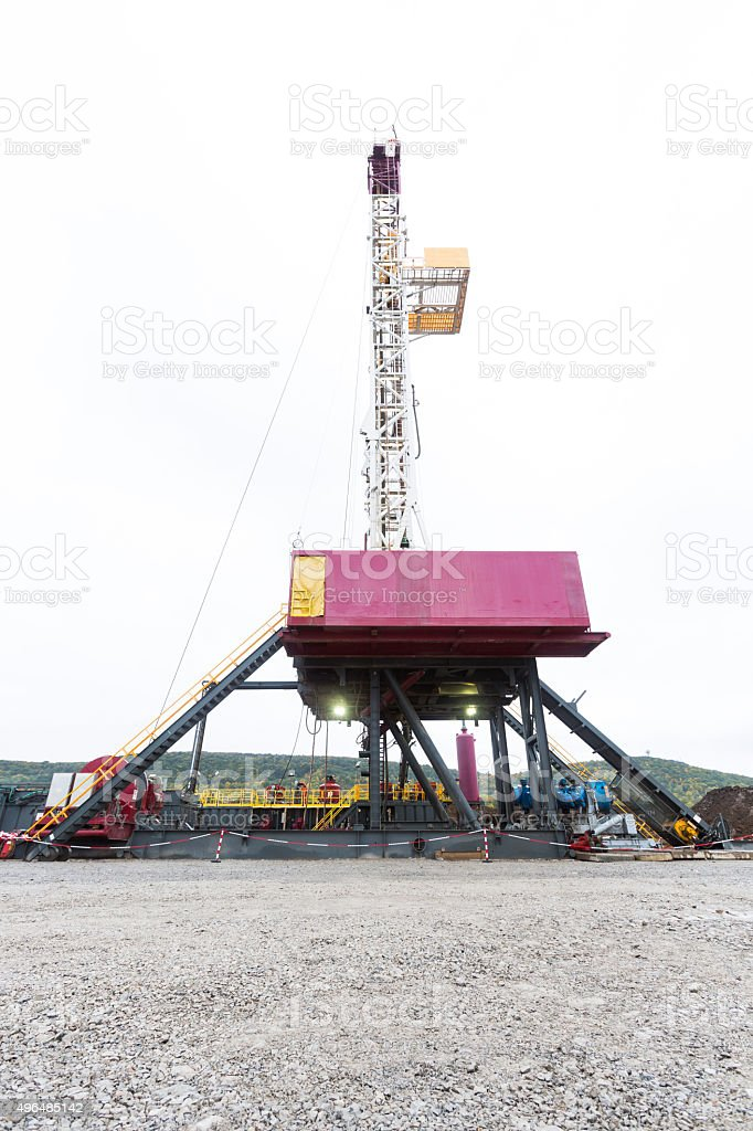Gas drilling machine platform stock photo