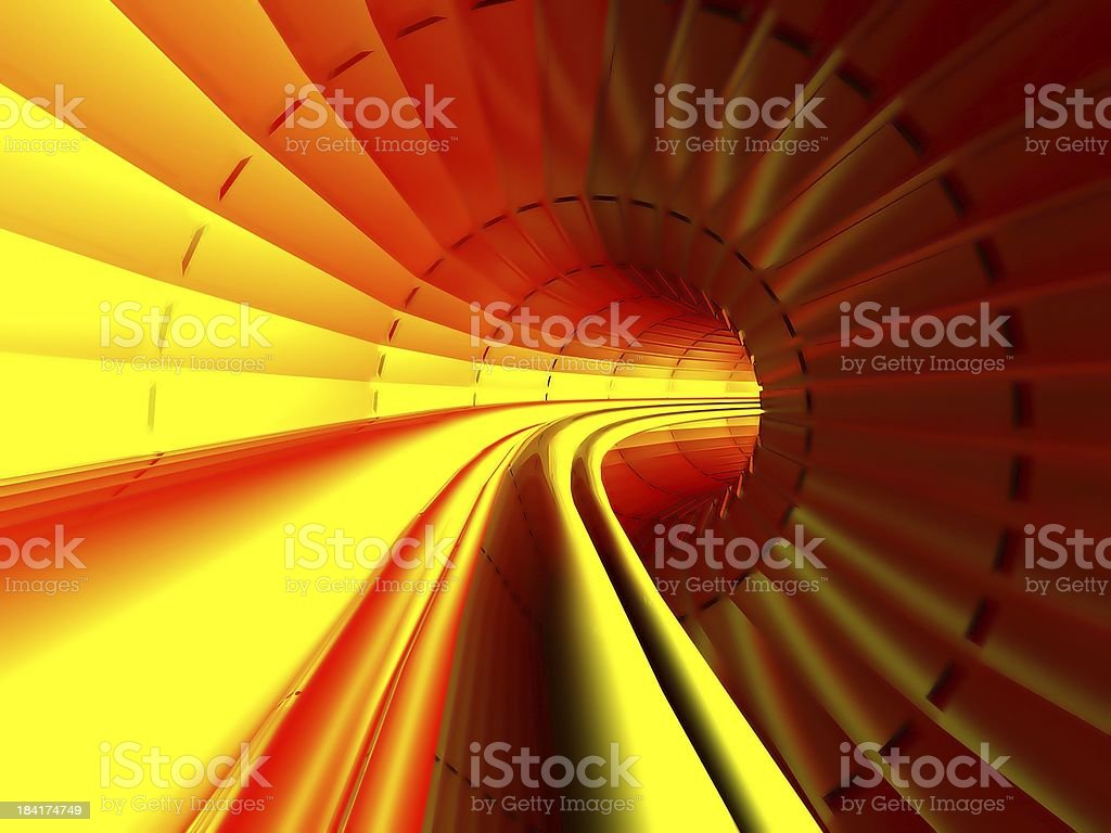 Gas, Energy, Electricity transmission, Stream in pipe interior, Hot tunnel stock photo