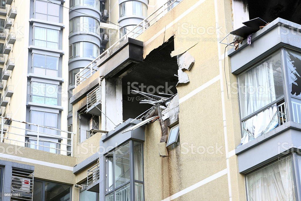 Gas Explosion Chinese Apartment Side stock photo
