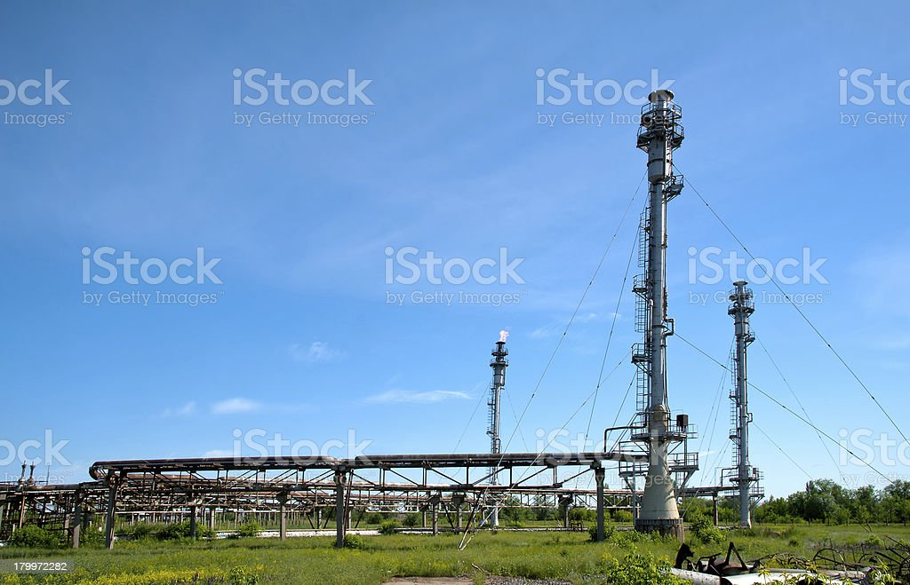 gas fired pipe at petroleum refinery royalty-free stock photo