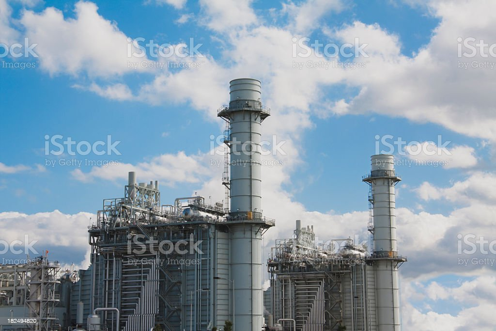 Gas fired turbine power plant royalty-free stock photo