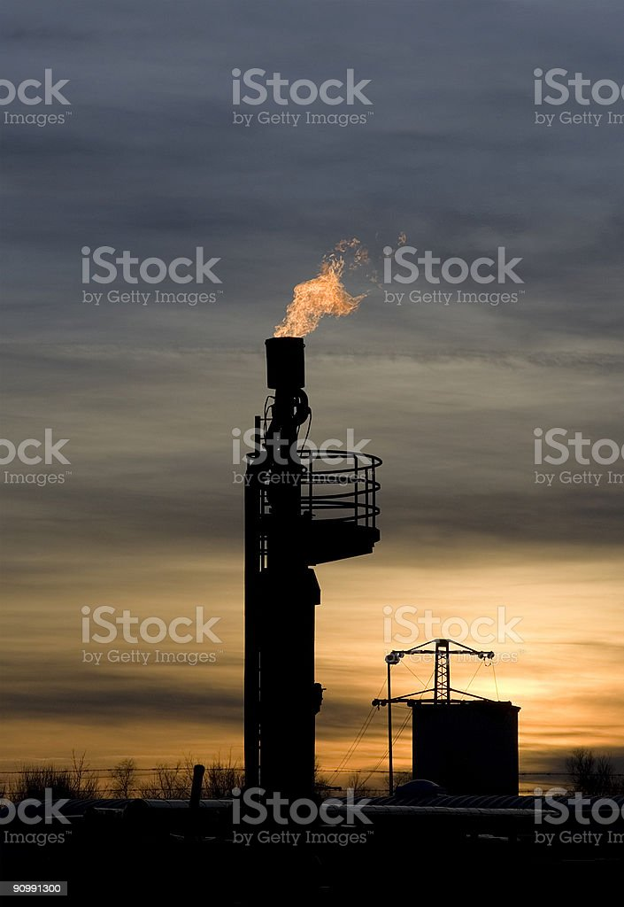 Gas flaring stock photo