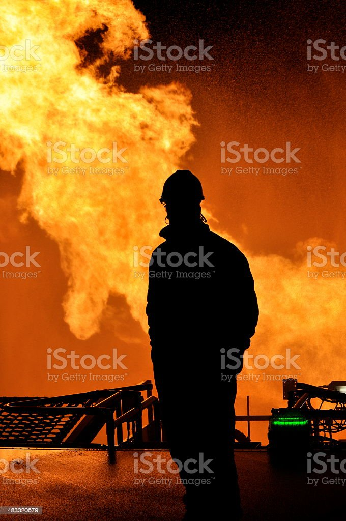 Gas Flaring Silhouette stock photo