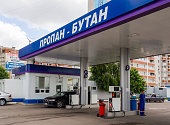 Gas fueling car on the streets of Voronezh