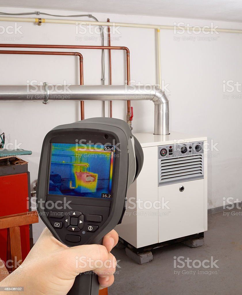 Gas Furnace Thermal Image stock photo