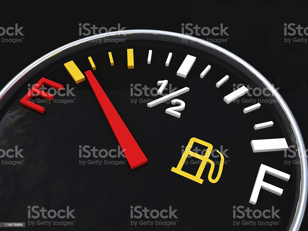 Gas gauge - fuel running on empty stock photo