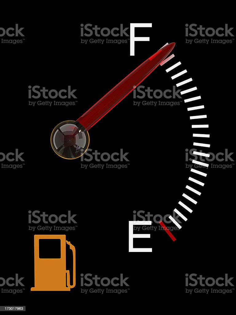 Gas gauge with meter pointing to almost full stock photo