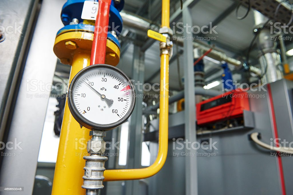 gas heating system boiler room equipments stock photo