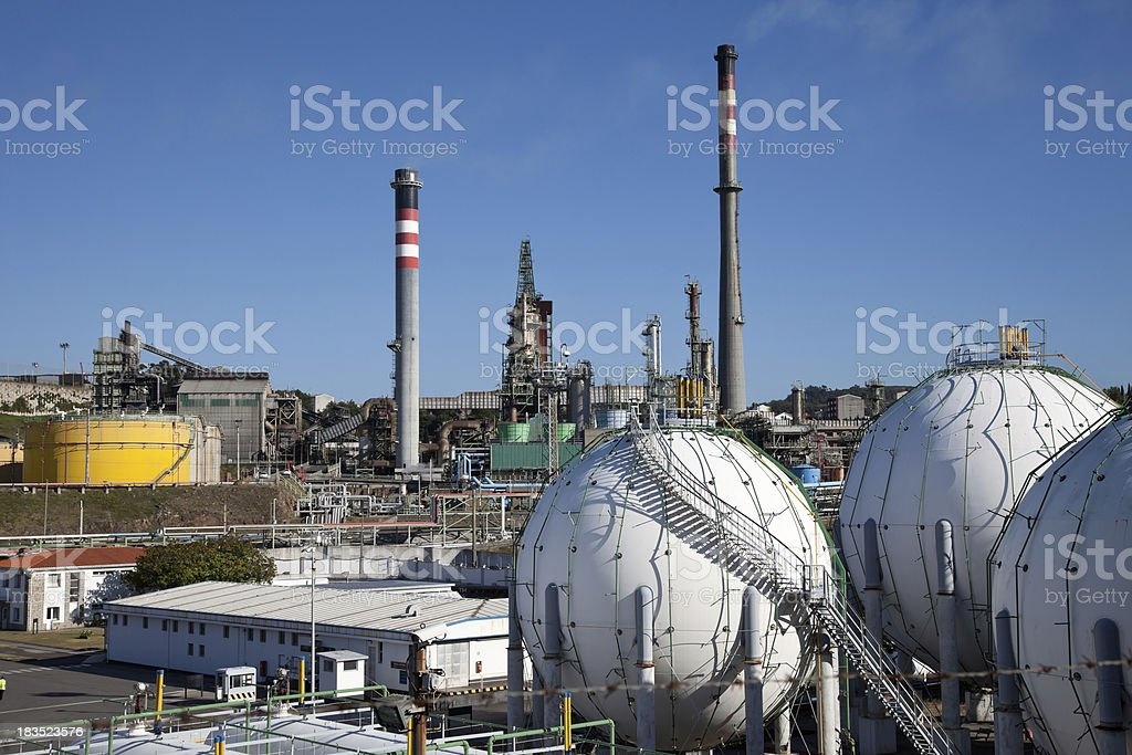 Gas holders in the Coruña refinery royalty-free stock photo