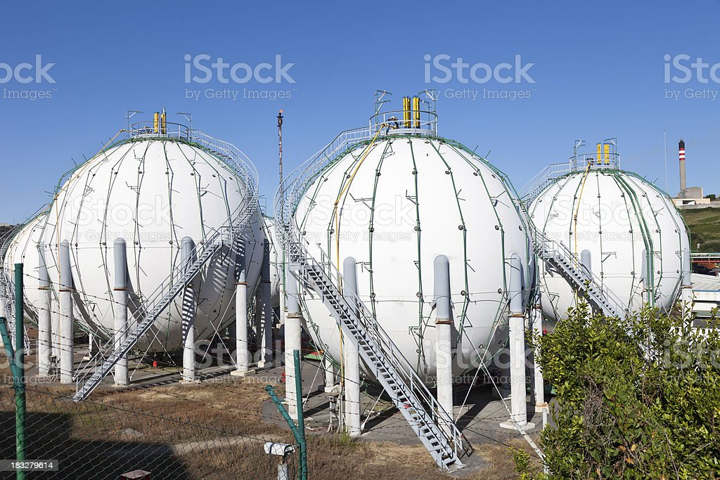 Gas holders royalty-free stock photo