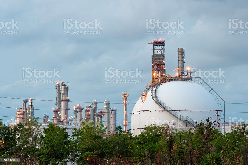 LPG gas industrial storage sphere tanks stock photo