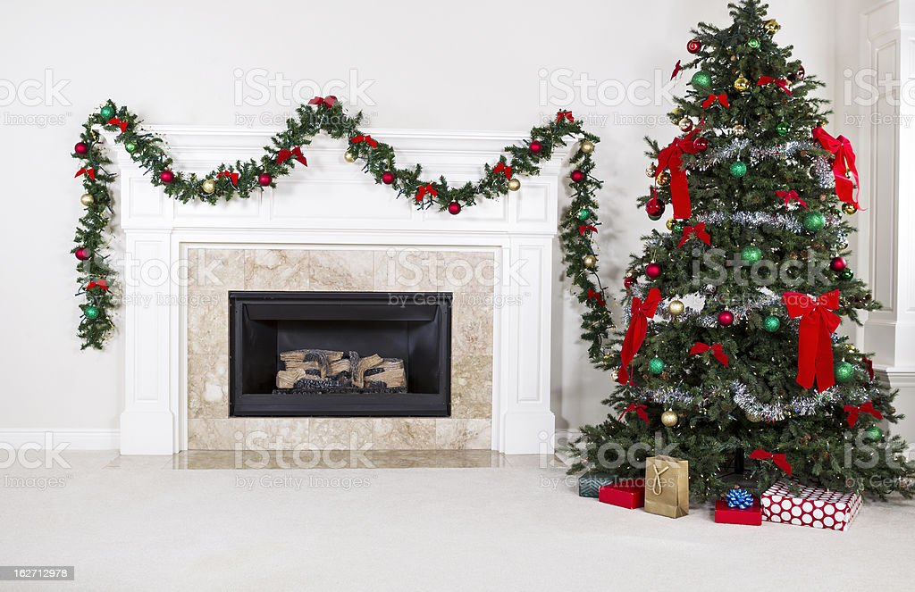 Gas Insert Fireplace in Use during Holidays stock photo