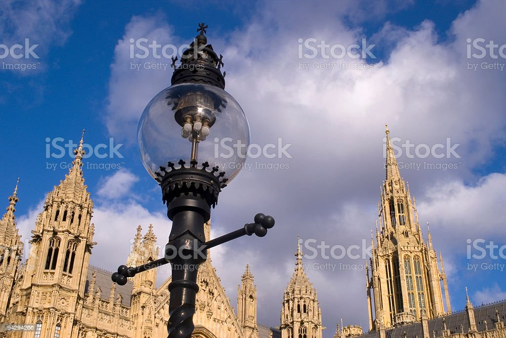 Gas lamp outside Parliament, London royalty-free stock photo