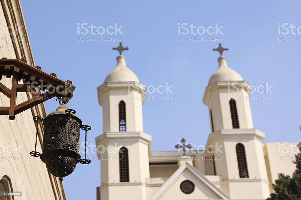 Gas lantern in front of coptic church royalty-free stock photo