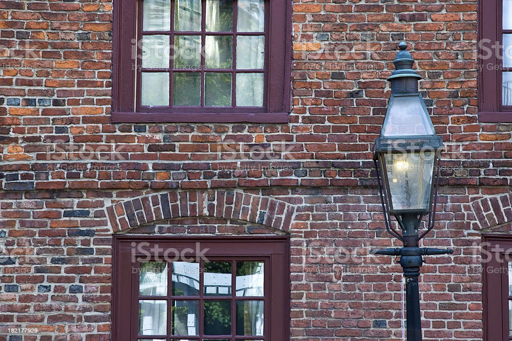 Gas Light and Old Brick stock photo