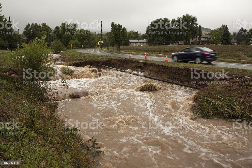 Gas line in flooding creek Boulder Colorado stock photo