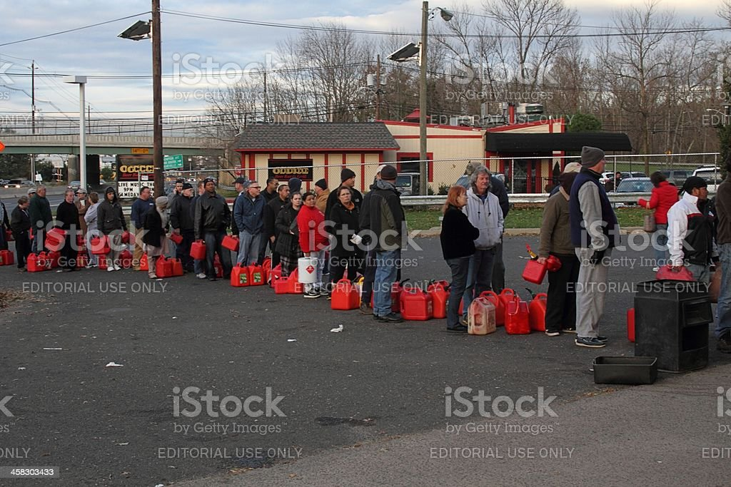Gas Lines after Huricane Sandy stock photo