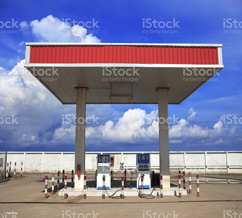 gas lpg station with beautiful blue sky background stock photo