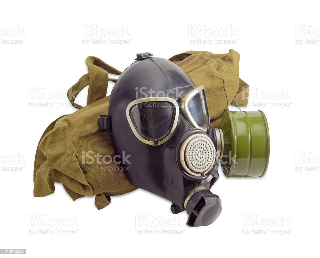 Gas mask and a cloth bag for him stock photo